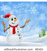 Vector Illustration of a Cheerful Snowman in a Scarf and Top Hat in a Winter Landscape by AtStockIllustration