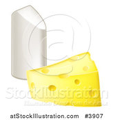 Vector Illustration of a Cheese Wedge and Piece of Chalk by AtStockIllustration