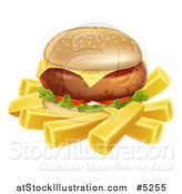 Vector Illustration of a Cheeseburger and French Fries by AtStockIllustration