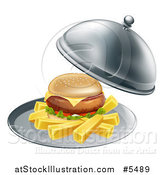 Vector Illustration of a Cheeseburger and Fries on a Cloche Platter by AtStockIllustration