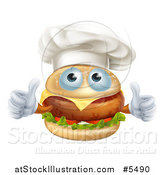 Vector Illustration of a Cheeseburger Chef Character Holding Two Thumbs up by AtStockIllustration