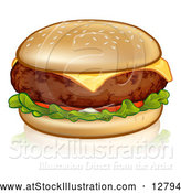 Vector Illustration of a Cheeseburger in Sesame Seed Bun with Tomato and Lettuce by AtStockIllustration