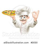 Vector Illustration of a Chef Holding up a Pizza Pie and Gesturing Ok by AtStockIllustration