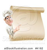 Vector Illustration of a Chef Looking Around and Pointing at a Scroll Menu Sign by AtStockIllustration