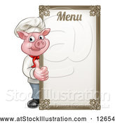 Vector Illustration of a Chef Pig Giving a Thumb up Around a Menu Board by AtStockIllustration