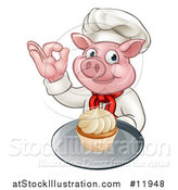 Vector Illustration of a Chef Pig Holding a Cupcake and Gesturing Okay by AtStockIllustration
