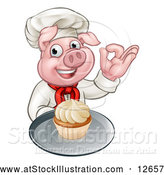 Vector Illustration of a Chef Pig Holding a Cupcake on a Tray and Gesturing Okay by AtStockIllustration