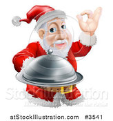 Vector Illustration of a Chef Santa Holding a Cloche and Gesturing Ok by AtStockIllustration