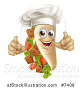 Vector Illustration of a Chef Souvlaki Kebab Sandwich Mascot Giving Two Thumbs up by AtStockIllustration