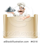 Vector Illustration of a Chef with a Mustache, Holding a Platter and Pointing down at a Scroll Sign by AtStockIllustration