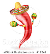 Vector Illustration of a Chili Pepper Mascot Wearing a Mexican Sombrero and Shaking Maracas by AtStockIllustration