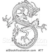 Vector Illustration of a Chinese Dragon - Outlined Version by AtStockIllustration