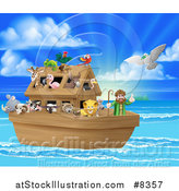 Vector Illustration of a Christian Bible Story Scene of Noah on His Ark with the White Dove Returning with the Olive Branch by AtStockIllustration