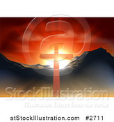 Vector Illustration of a Christian Crucifix Against a Sunset and Mountains by AtStockIllustration