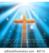 Vector Illustration of a Christian Crucifix Against Blue Heavenly Rays and Sparkles by AtStockIllustration