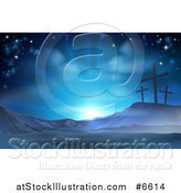 Vector Illustration of a Christian Easter Background of Crosses on Calvary Hill Against Blue Sunshine by AtStockIllustration