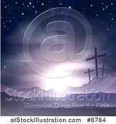 Vector Illustration of a Christian Easter Background of Crosses on Calvary Hill Against Purple Sunshine by AtStockIllustration