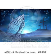 Vector Illustration of a Christian Easter Background of Praying Hands over Two Thieves Crosses on Calvary Hill by AtStockIllustration