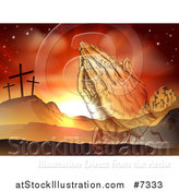 Vector Illustration of a Christian Easter Background of Praying Hands over Two Thieves Crosses on Calvary Hill Outside the City Walls of Bethlehem by AtStockIllustration