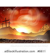 Vector Illustration of a Christian Easter Background of Two Thieves Crosses on Calvary Hill Outside the City Walls of Bethlehem by AtStockIllustration