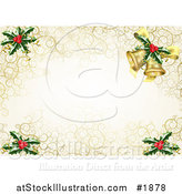 Vector Illustration of a Christmas Background Border of Swirls with Holly and Bells by AtStockIllustration