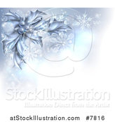 Vector Illustration of a Christmas Background of Frozen Holly, Berries, Snowflakes and Flares with a Corner of Text Space by AtStockIllustration