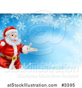 Vector Illustration of a Christmas Background of Santa Presenting over Snowflakes on Blue by AtStockIllustration