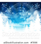 Vector Illustration of a Christmas Background of Snowflakes Falling down over White Evergreen Winter Trees in Blue TonesChristmas Background of Snowflakes Falling down over White Evergreen Winter Trees in Blue Tones by AtStockIllustration