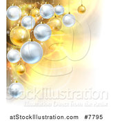 Vector Illustration of a Christmas Background with 3d Bauble Ornaments over Golden Magic Lights and Flares by AtStockIllustration