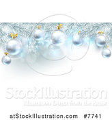 Vector Illustration of a Christmas Background with 3d Bauble Ornaments Suspended from a Tree over Lights and Snowflakes by AtStockIllustration