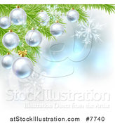 Vector Illustration of a Christmas Background with 3d Bauble Ornaments Suspended from a Tree over Magic Lights and Snowflakes by AtStockIllustration