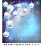 Vector Illustration of a Christmas Background with 3d Suspended Bauble Ornaments over Blue Magic Lights by AtStockIllustration