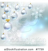Vector Illustration of a Christmas Background with 3d Suspended Bauble Ornaments over Magic Lights and Snowflakes by AtStockIllustration