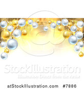 Vector Illustration of a Christmas Background with a 3d Arch of Bauble Ornaments over Golden Magic Lights and Flares by AtStockIllustration
