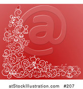 Vector Illustration of a Christmas Background with Birds, Bows, Bells and Candy Canes by AtStockIllustration