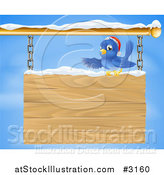 Vector Illustration of a Christmas Bluebird Perched in Snow and Presenting a Hanging Wood Sign Against a Sky by AtStockIllustration
