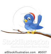 Vector Illustration of a Christmas Bluebird Wearing a Santa Hat and Perched on a Branch with Snow by AtStockIllustration