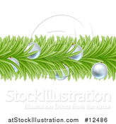 Vector Illustration of a Christmas Branch Garland with Silver Baubles by AtStockIllustration