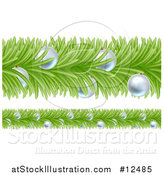 Vector Illustration of a Christmas Branch Garlands with Silver Baubles by AtStockIllustration