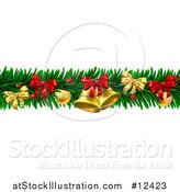Vector Illustration of a Christmas Garland with Bells, Bauble Ornaments and Bows by AtStockIllustration