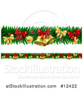 Vector Illustration of a Christmas Garlands with Bells, Bauble Ornaments and Bows by AtStockIllustration