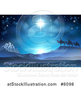 Vector Illustration of a Christmas Nativity Background of the Wise Men and Bethlehem Under the Star by AtStockIllustration