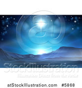 Vector Illustration of a Christmas Nativity Star of Bethlehem in Blue over a Desert by AtStockIllustration
