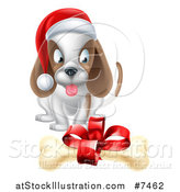 Vector Illustration of a Christmas Puppy Dog Sitting and Looking at a Gift Bone by AtStockIllustration