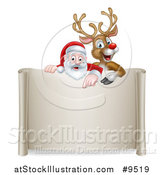 Vector Illustration of a Christmas Red Nosed Reindeer and Santa Pointing down over a Scroll Sign by AtStockIllustration