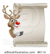 Vector Illustration of a Christmas Red Nosed Rudolph Reindeer Presenting a Blank Scroll Sign by AtStockIllustration