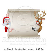 Vector Illustration of a Christmas Reindeer and Santa Claus Pointing Around a Blank Scroll Sign by AtStockIllustration