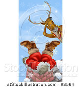 Vector Illustration of a Christmas Reindeer Watching Santa Stuck in a Chimney by AtStockIllustration