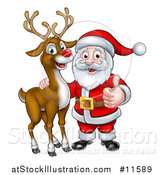 Vector Illustration of a Christmas Reindeer with Santa Holding a Thumb up by AtStockIllustration