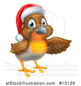 Vector Illustration of a Christmas Robin in a Santa Hat, Pointing to the Right by AtStockIllustration